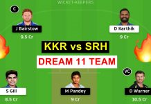 KKR vs SRH dream 11 prediction todays match