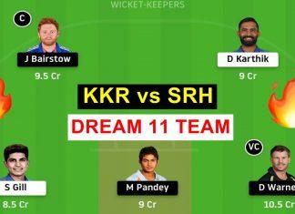 KKR vs SRH dream 11 prediction todays match