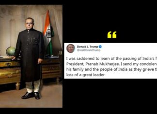 Donald Trump condoles Death of Pranab Mukherjee
