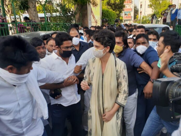 Priyanka Gandhi reaches prachin valmiki temple to attend prayer meet for the Hathras victim