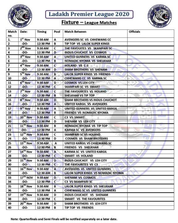 Schedule for Ladakh Premier League 2020